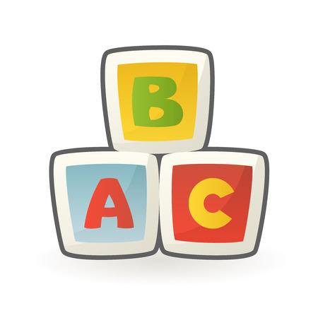 Bloques de construcción de cubos para bebés, diseño de letras del alfabeto de juguetes educativos tempranos, ilustración vectorial de dibujos animados