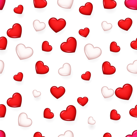 Valentine day isolated heart seamless 3d pattern background design vector illustration