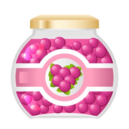 Jelly marmalade sweet jam dessert natural healthy organic fresh glass jar isolated food vector illustration