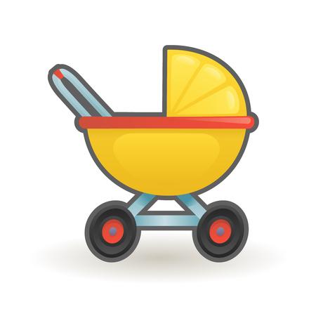 Pram baby carriage buggy cartoon vector design illustration