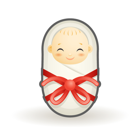 Swaddled newborn cute smiling happy sleeping baby cartoon vector design illustration