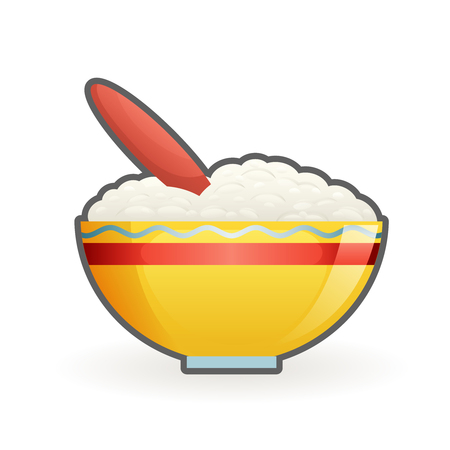 Porridge baby healthy food cartoon vector design illustration 일러스트