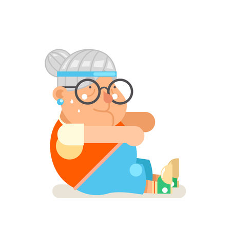Granny healthy activities fitness adult old age woman character cartoon design flat vector illustration Vector Illustration