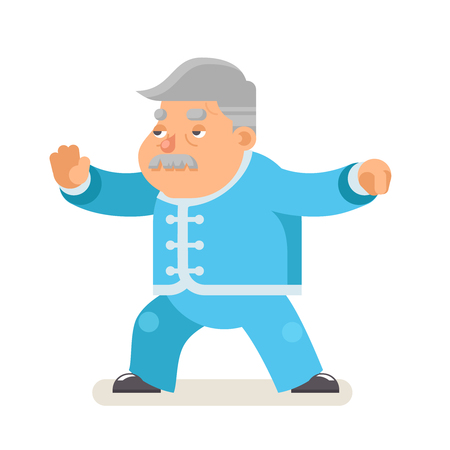 Taichi wushu kungfu fitness healthy activities grandfather adult age old man character cartoon flat design vector illustration