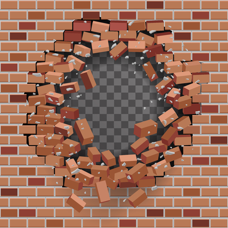 Red brick break wal hole destructionl template transparent background vector illustration