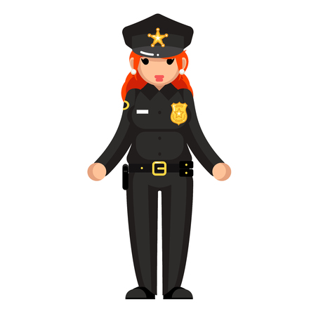 Female policeman flat design woman character isolated vector illustrator