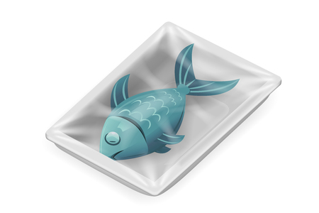 Fish food pack isolated meat isometric disposable 3d realistic shop package box design vector illustration