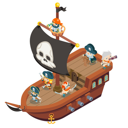 Pirate ship crew buccaneer filibuster corsair sea dog sailors captain RPG fantasy treasure game isometric flat design vector illustration Ilustração