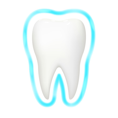 Tooth protection aura glow realistic 3d stomatology dental teeth care isolated design vector illustration Illustration