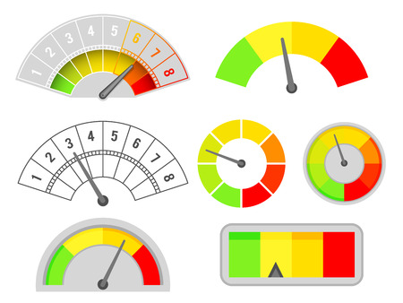 Speedometer speed indicators interface measurement set meter dashboard arrow isolated design vector illustration
