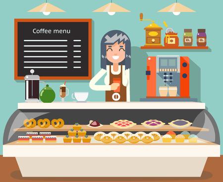 Cafe coffee shop woman business interior seller female bakery taste sweets flat design vector illustration