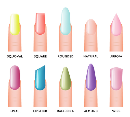 Isolated fashion trend female nail manicure shape forms design icons set vector illustration