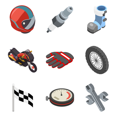 Motocross race sport championship isometric motorbike vehicle icons flat set bike design vector illustration