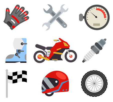 Race sport championship motocross motorbike vehicle icons set flat bike design vector illustration