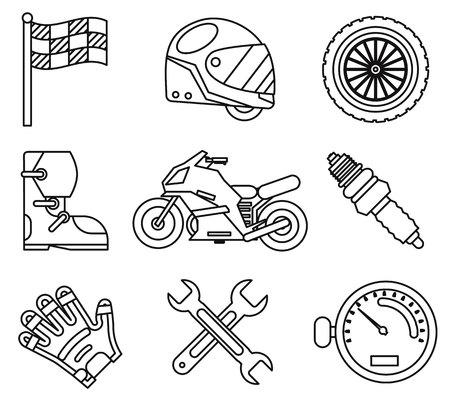Bike race sport championship motorbike motocross vehicle icons set flat design vector illustration Vektorové ilustrace