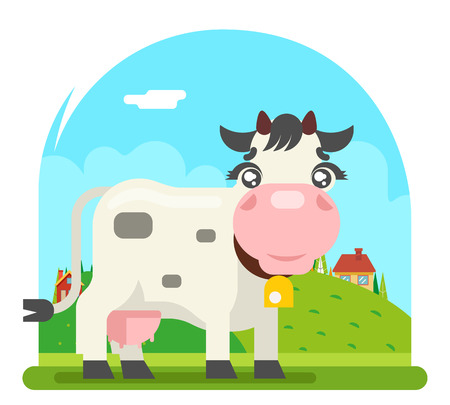Cow milk farm animal flat design design vector illustration