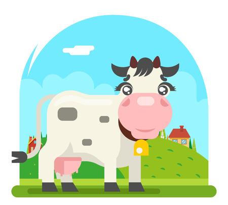 Cow milk farm animal flat design design vector illustration