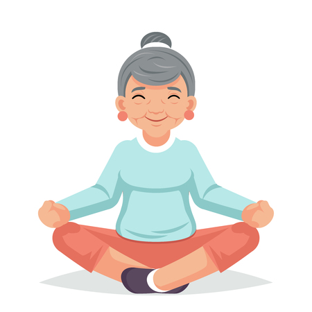 Adult healthy lifestyle fitness old woman yoga grandmother exercises happy senior cartoon character design vector illustration