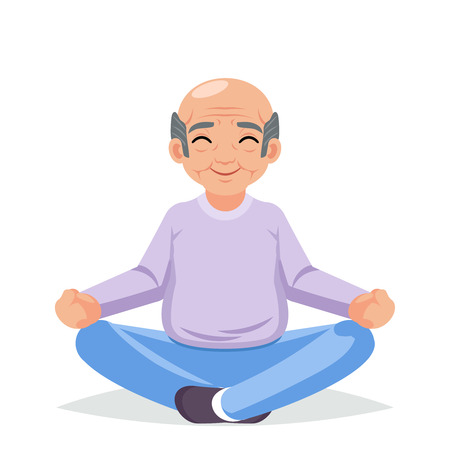 Fitness adult healthy lifestyle old man grandfather yoga exercises happy senior character cartoon design vector illustration