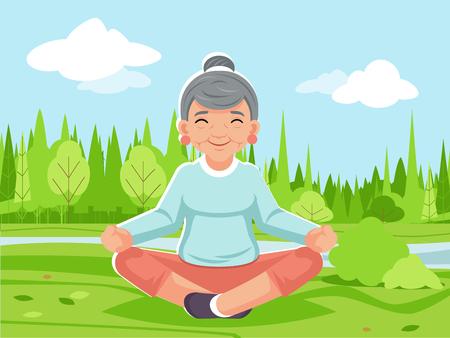 Outdoor park nature fitness meditation adult woman old grandmother yoga health cartoon character design vector illustration