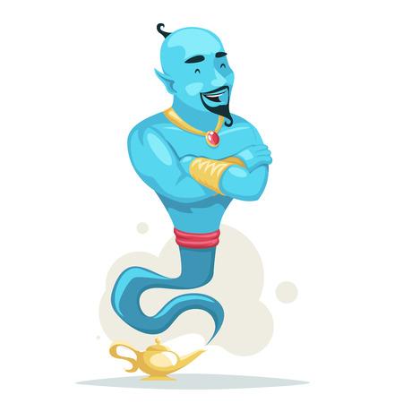Los brazos de cuento de hadas mágicos árabes cruzaron la ilustración de vector de deseo de personaje de dibujos animados de humo de lámpara de genio