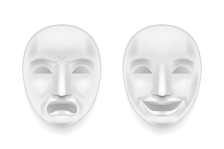 Isolated theatrical face mask sadness joy white actor play antique realistic 3d mock up design vector illustration Vectores