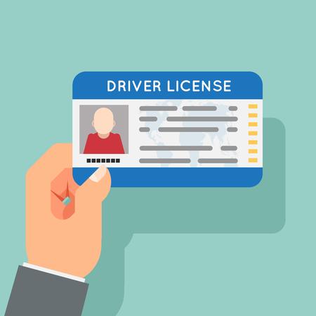 Hand hold car driver license identification flat photo design vector illustration