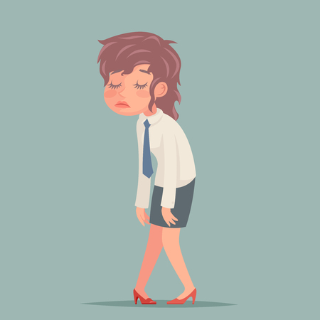 Tired disheveled businesswoman sad woman weary character retro cartoon design vector illustration