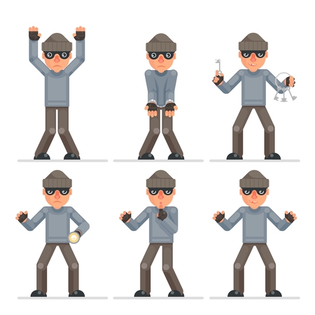 Evil greedily housebreaker thief cartoon rogue bulgar captured character flat design set isolated vector illustration Illustration