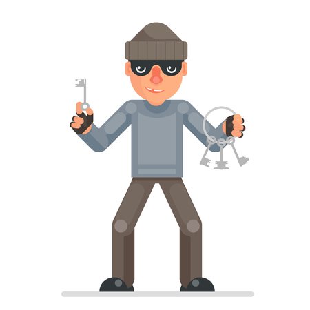 Housebreaker thieves keys picklock hand evil greedily thief cartoon rogue bulgar character design flat isolated vector illustration