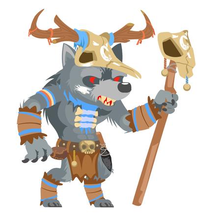 Druid wolf werewolf shapeshifter shaman monster fantasy medieval action game RPG character vector illustration Illustration