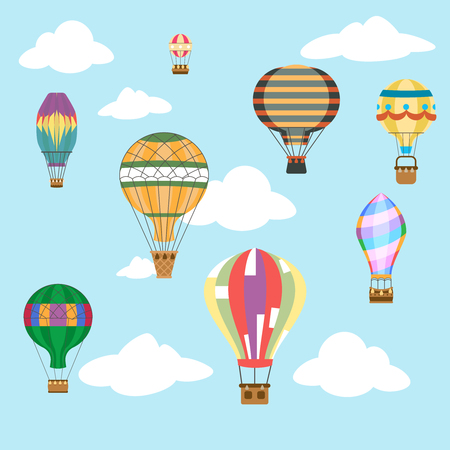 Aerostat air balloon sky clouds flight basket travel retro airship cartoon icons set design vector illustration