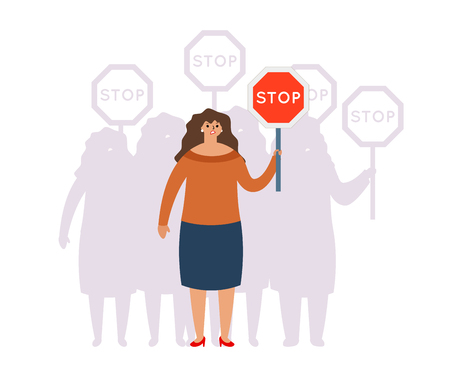 Crowd group union fight for equal rights stop sign women fighting unity gender inequality demand female male characters concept modern flat design vector illustration