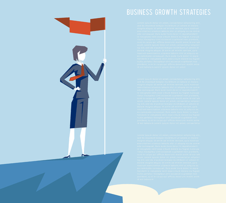 Business triumph woman top flag point goal achievement businesswoman character symbol mountain clouds background female business concept flat design vector illustration