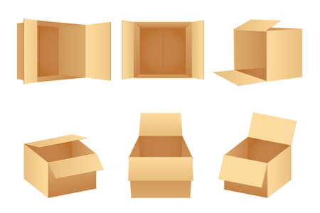 Paper cardboard package boxes isometric empty open pack box isolated icons set realistic template design vector illustration