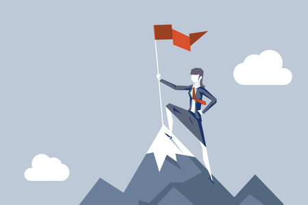 Woman conquering heights flag businesswoman conqueror female character achievement top point aoal mountain background business concept flat design vector illustration
