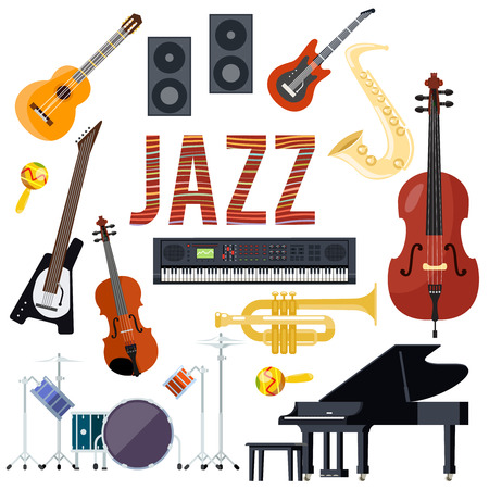 Classical jazz performance musical instruments set isolated flat design vector illustration Illustration