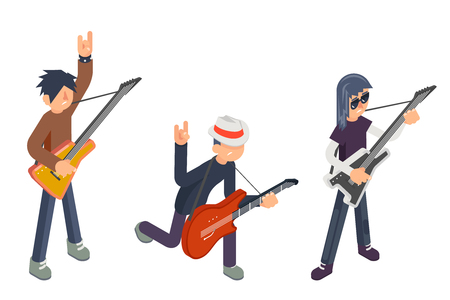 Guitar player popular modern performer isometric 3d icon guitarist hard rock heavy folk pop music design flat vector illustration Ilustração