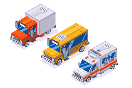 Isometric automobile van transportation school buss ambulance delivery truck retro 3d lowpoly cars isolated on white icons set flat design vector illustration  イラスト・ベクター素材