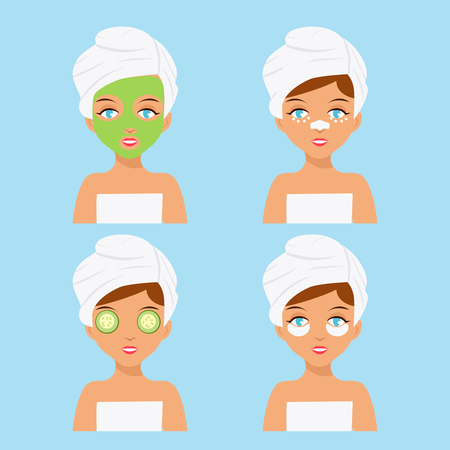 Woman care cosmetics face rejuvenation skin clean female flat design vector illustration