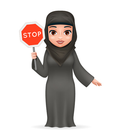 Protest fight for equal rights stop sign arabe tradicional cute female clothing hijab abaya 3d cartoon character design vector illustration