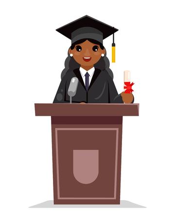 Mujer afroamericana graduada educación solemne mujer graduación tribuna discurso africano personaje diseño plano vector ilustración