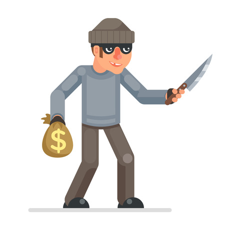 Threat of violence evil greedily thief stole money bag cartoon rogue bulgar threaten draw knife character design flat isolated vector illustration
