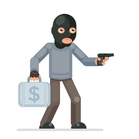 Gun armed robbery stole money suitcase evil greedily thief cartoon rogue bulgar character design flat isolated vector illustration