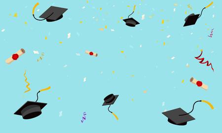 Graduation hats fly in sky poster graduation scrolls caps confetti flat design vector illustration