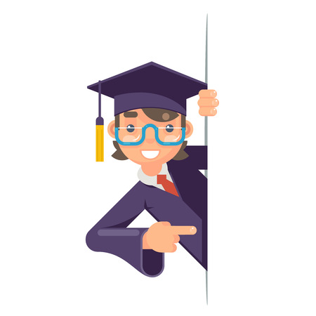 Cartoon graduate boy look out corner promotion pointing finger student male character graduation design cap scroll vector illustrator