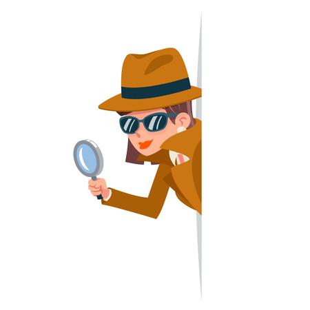 Carino donna ficcanaso detective lente d'ingrandimento tec sbirciando fuori angolo ricerca aiuto noir femmina personaggio dei cartoni animati design illustrazione vettoriale isolato Vettoriali