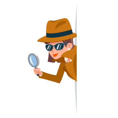 Cute woman snoop detective magnifying glass tec peeking out corner search help noir female cartoon character design isolated vector illustration Ilustrace