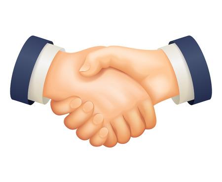 Deal handshake businessman partnership agreement 3d realistic cartoon business design isolated on white vector illustration