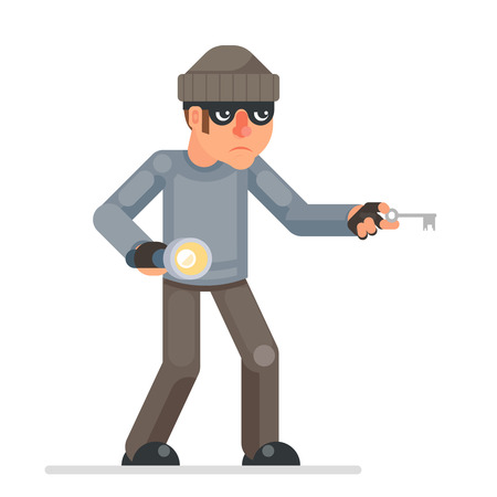 Picklock housebreaker ladrones llaves linterna mano escabullirse mal con avidez ladrón dibujos animados pícaro personaje bulgar diseño plano aislado ilustración vectorial